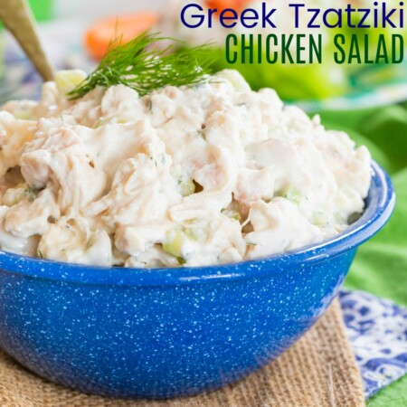 Greek Tzatziki Chicken Salad Recipe image with title