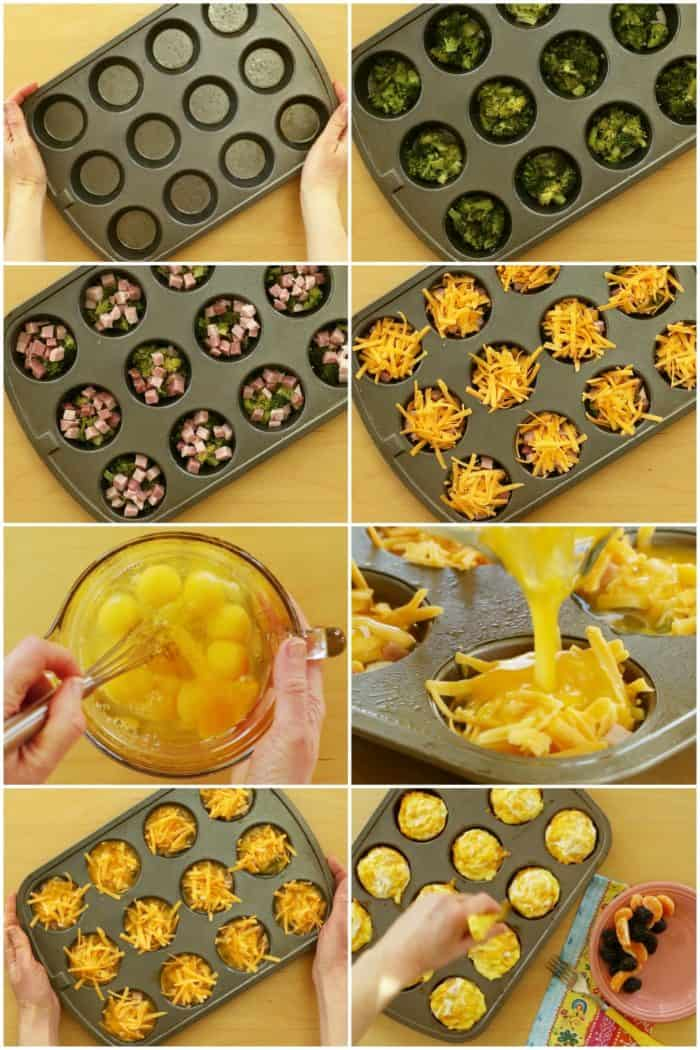 Process Shots for how to make broccoli ham and cheese egg muffin cups
