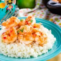 Honey Lime Shrimp with Chili on a plate