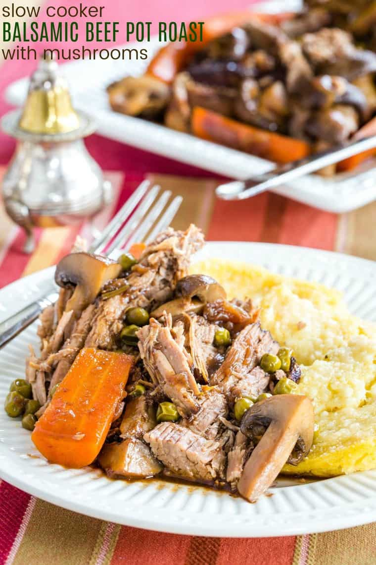 Slow Cooker or Instant Pot Balsamic Beef Pot Roast Recipe Image with title