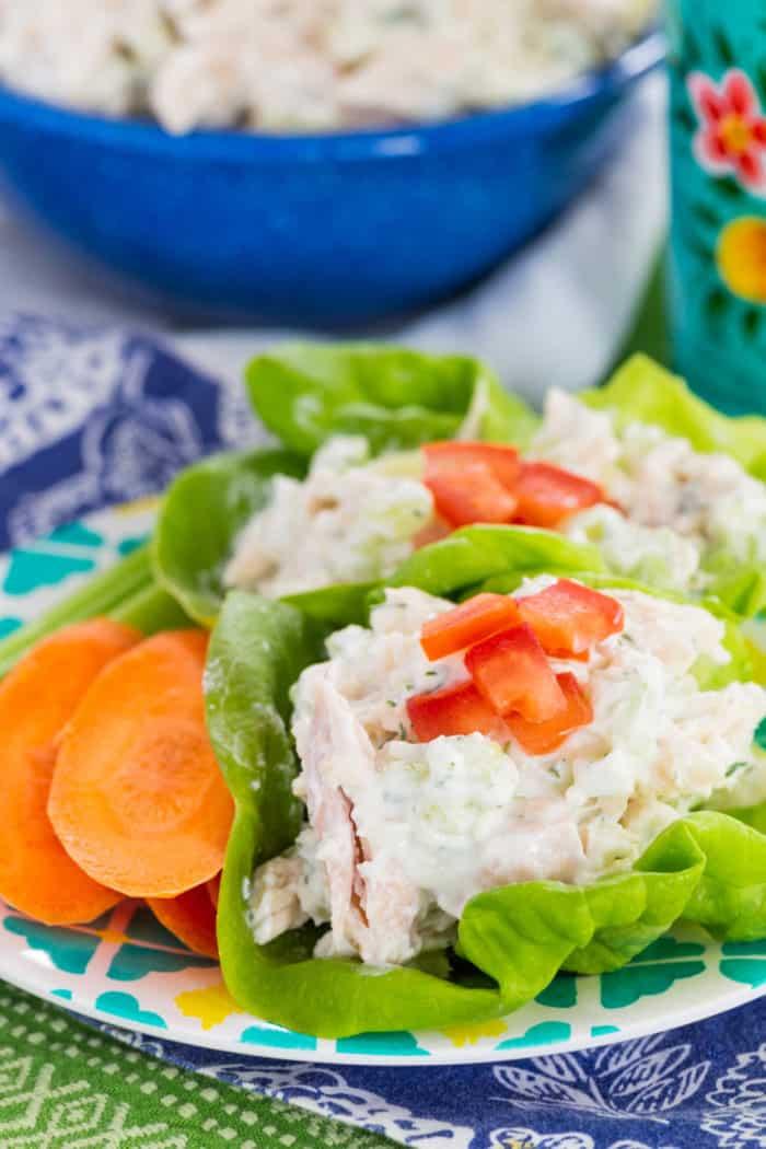 Keto Tzatziki Chicken Salad Lettuce Wraps