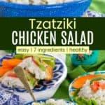 Greek Tzatziki Chicken Salad Pinterest Collage