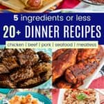 Collage of 5 Ingredient Gluten Free Dinner Recipes