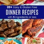 Collage of Dinner Recipes with 5 Ingredients or Less