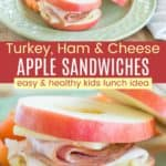 Turkey Ham and Cheese Apple Sandwich Recipe Pinterest Collage