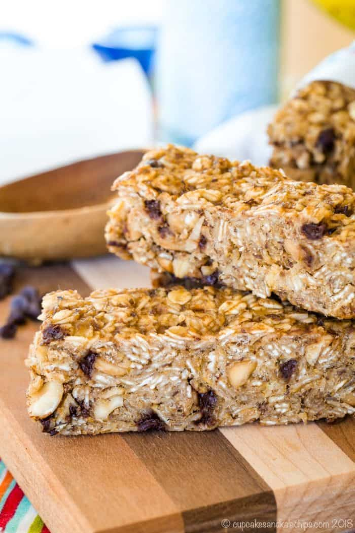 Stack of two granola bars with chocolate chips, peanut butter, and banana