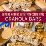 Chocolate Chip Granola Bars with Peanut Butter and Bananas Pinterest Collage