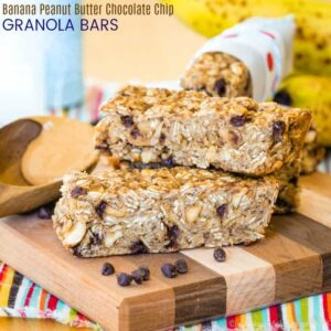 Banana Peanut Butter Chocolate Chip Granola Bars Recipe featured image square