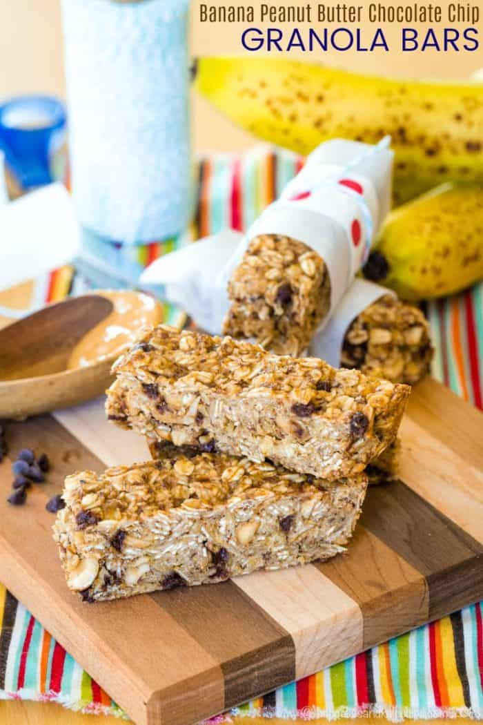 Banana Peanut Butter Chocolate Chip Granola Bars Recipe image with title
