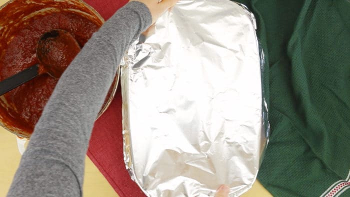 Cover with foil and bake lasagna