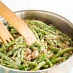 Creamy Green Beans and Mushrooms Recipe image with title
