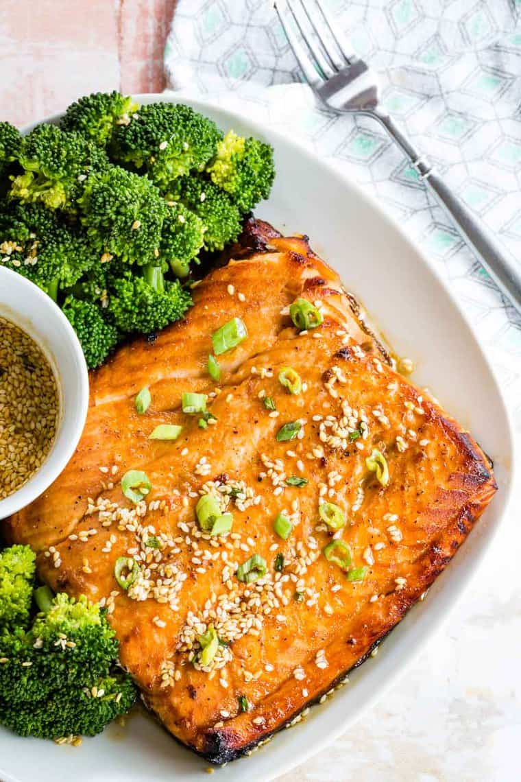 Broiled Salmon and broccoli with a bowl of Sesame Maple Glaze