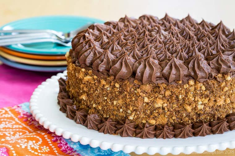 A whole gluten free layer cake with chocolate buttercream and yellow butter cake crumbs