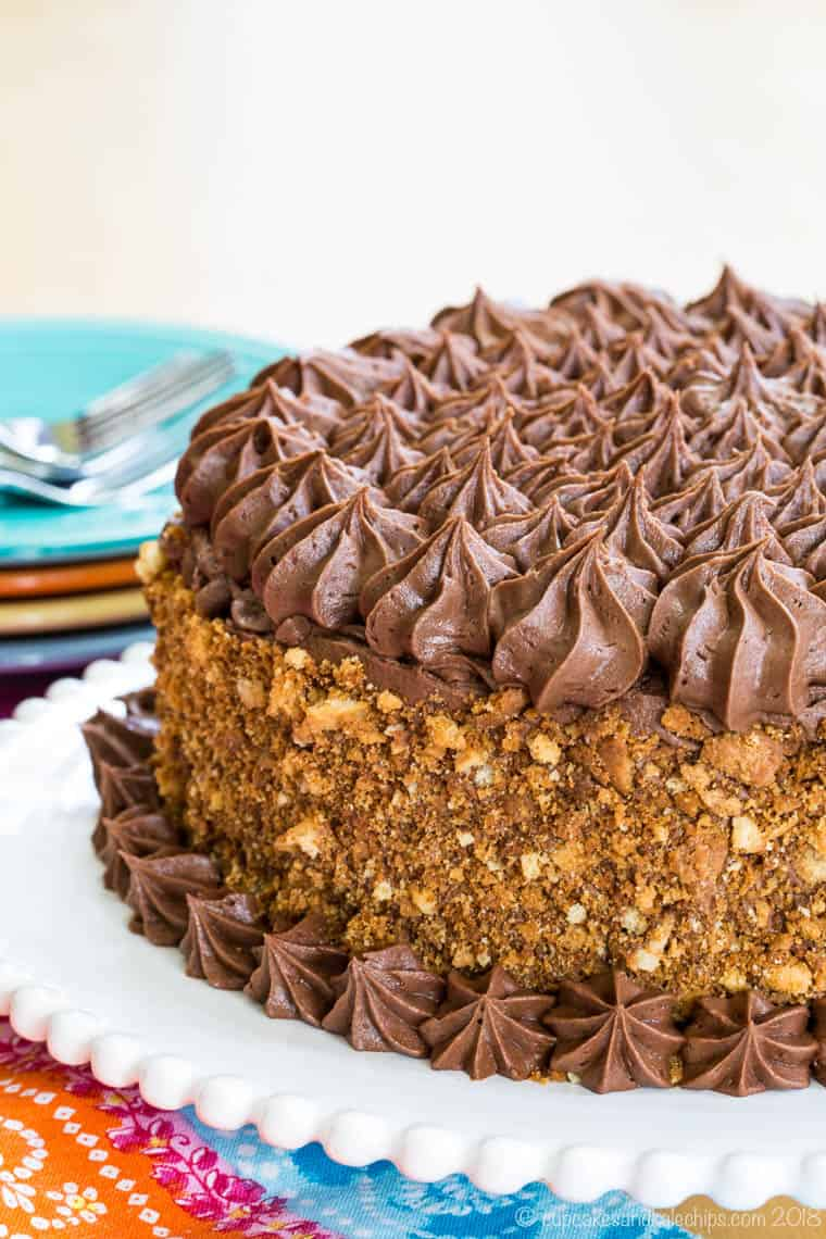 Gluten Free Birthday Cake on a white cake platter