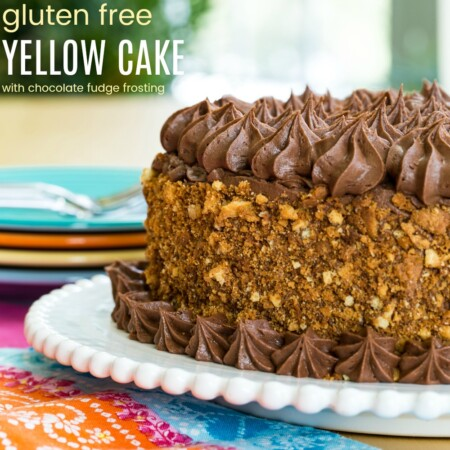Gluten Free Yellow Cake with Chocolate Fudge Frosting with text
