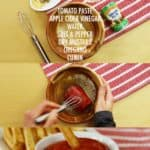 Collage of steps to make your own ketchup