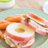 Turkey, Ham and Cheddar Apple Sandwiches