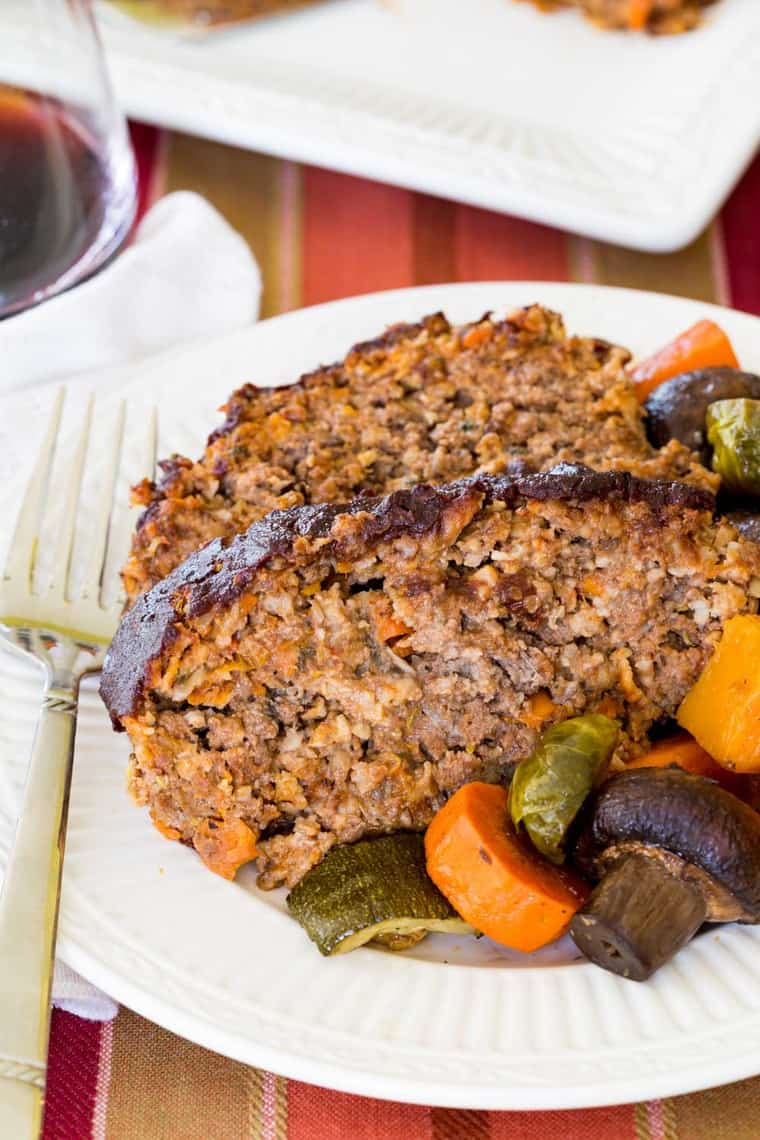 Closeup of Balsamic Meatloaf with Roasted Vegetables