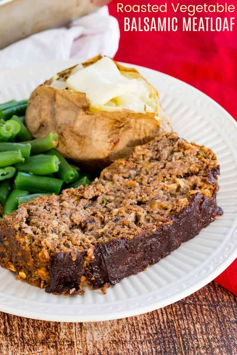 Roasted Vegetable Balsamic Meatloaf Recipe Image with title