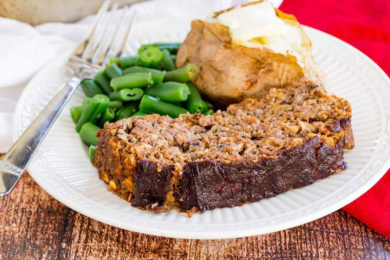 Roasted Vegetable Balsamic Meatloaf Dinner with green beans and baked potato