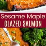 Sesame Maple Broiled Salmon Recipe Pinterest Collage