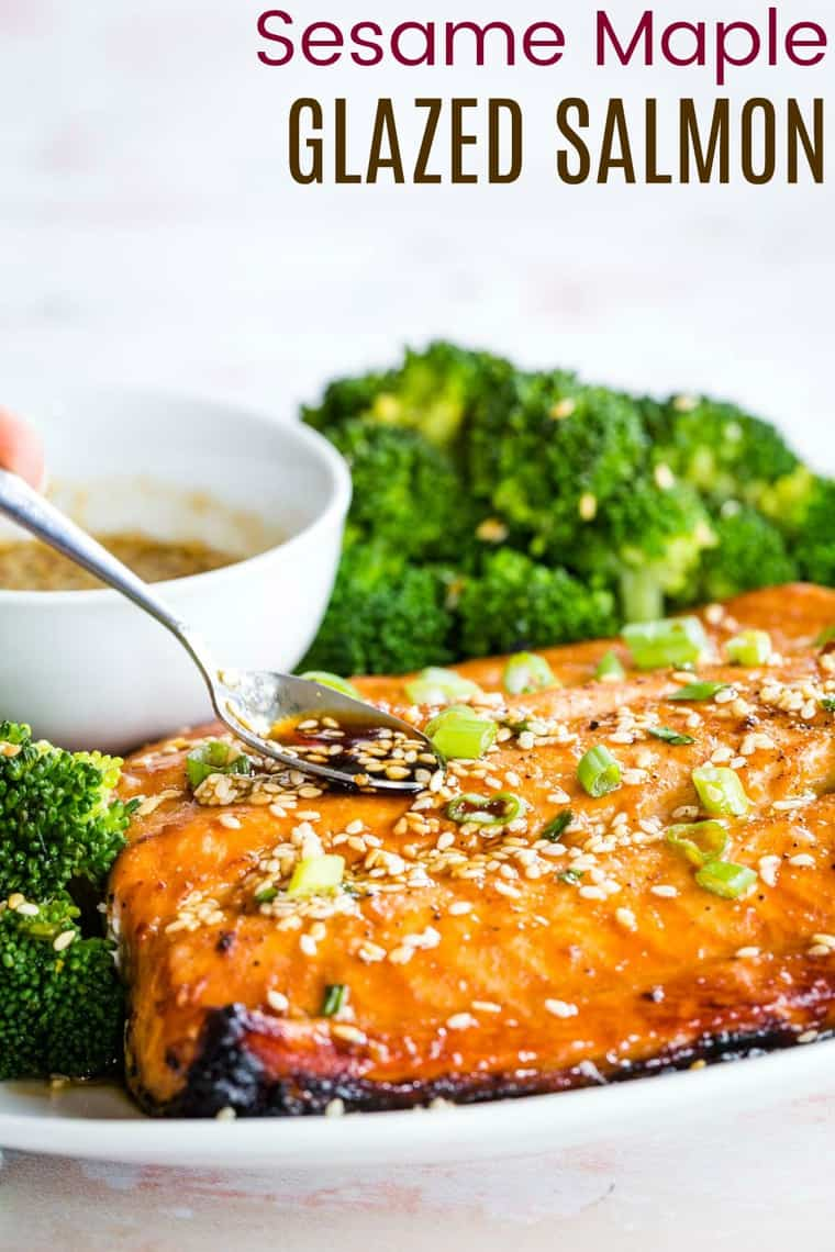 Sesame Maple Glazed Salmon Recipe with title
