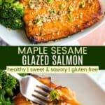 Sesame Maple Glazed Salmon Recipe Pinterest Collage
