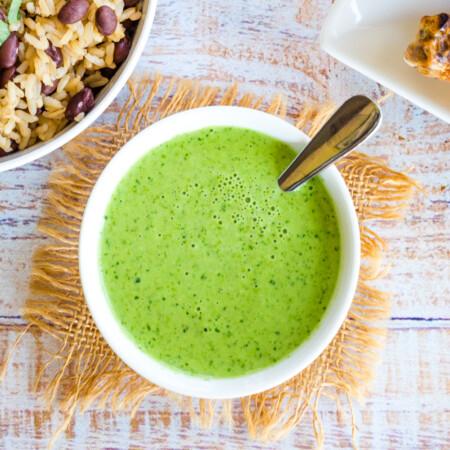 Overhead ove Aji Green Sauce in a bowl