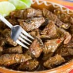 Chili Lime Steak Bites Recipe Image with Title