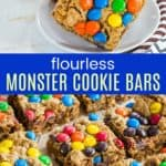 Monster Cookie Bar Recipe Pinterest Collage
