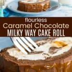 Chocolate Caramel Flourless Cake Roll Recipe Pinterest Collage