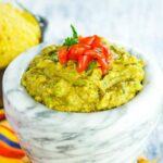Easy guacamole with a bowl of tortilla chips