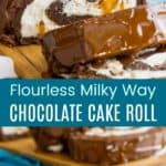 Flourless Milky Way Cake Roll Recipe Pinterest Collage