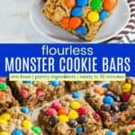 Flourless Monster Cookie Bars Recipe Pinterest Collage
