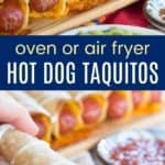 Cheesy Hot Dog Taquitos Pinterest Collage