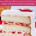 Strawberries and Whipped Cream Cake Recipe Pin Template Dark