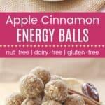 Apple Cinnamon No-Bake Energy Balls Recipe Pinterest Collage Dark