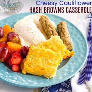 Square photo of Pieces of Cheesy Cauliflower Hash Browns Casserole on a plate with breakfast