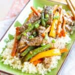 Gluten Free Beef Stir Fry Recipe Image with title