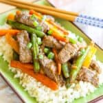 Gluten Free Beef and Veggie Stir Fry Recipe Image with title