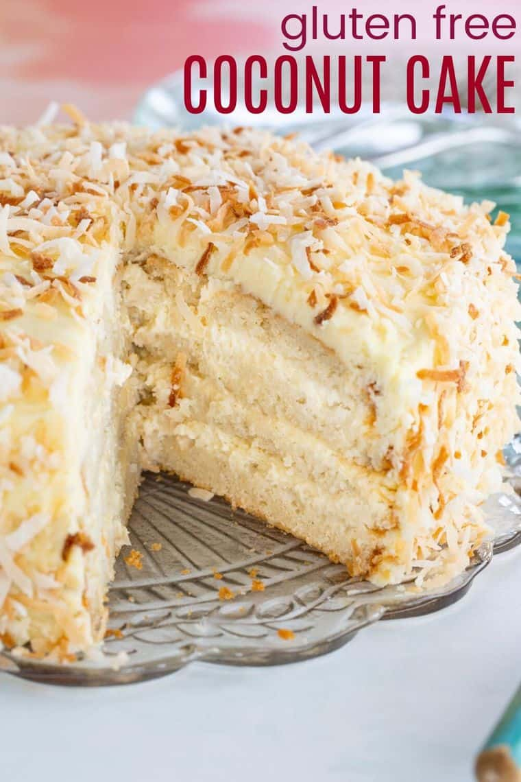 Gluten Free Coconut Cake Recipe Image with title