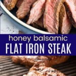slices of steak on a blue plate and the whole flat iron steak on a grill