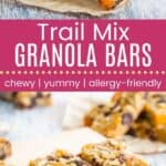 Chewy Trail Mix Granola Bars Pinterest Collage Template