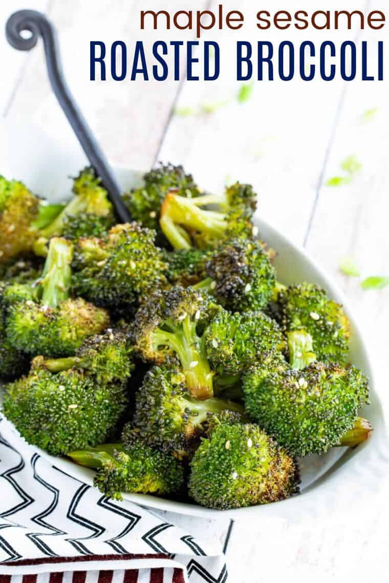 Roasted Maple Sesame Broccoli Recipe Image with title
