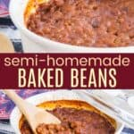 Semi Homemade Baked Beans Pinterest Collage