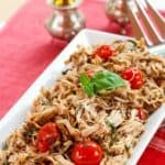 Tomato Basil Slow Cooker Chicken Recipe Image with Title