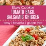 Crockpot Chicken with Tomatoes and Basil Pinterest Collage Dark