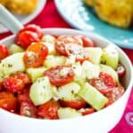 Tomato Cucumber Feta Salad Recipe Image with title