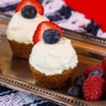 Triple Berry Cheesecake Chocolate Chip Cookie Cups image with title text