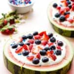 Berries and Cream Watermelon Pizza Recipe Image with Title